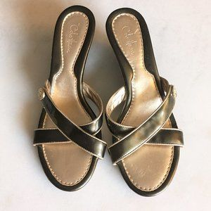 Cole Haan olive green patent leather X cross wedge sandals with gold trim